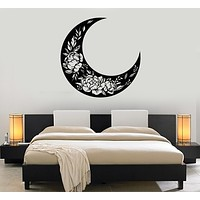 Vinyl Wall Decal Crescent Moon Floral Patterns Flowers Stickers Mural (g4142)