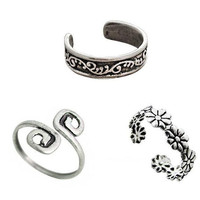 Vintage 3 Pcs Retro Casual Old Silver Toe Rings Flower Tail Ring Adjustable +Gift Box