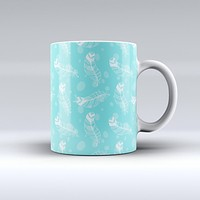 The Stenciled Feather Pattern ink-Fuzed Ceramic Coffee Mug