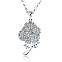 Jewelry Stylish Gift New Arrival Shiny Korean Accessory Simple Design Floral Pendant Necklace [4918317444]