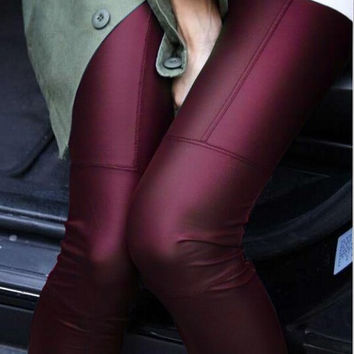 Faux Leather Patchwork Leggings