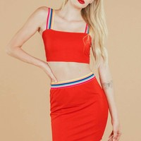 Rainbow Striped Crop Top & Skirt Set