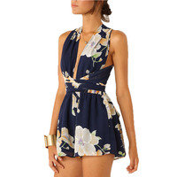 Women Sexy Playsuits Romper Open Back Chiffon Floral Summer Sleeveless V-Neck Cross Bandage Jumpsuit Overalls u2