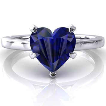 Darci Heart Blue Sapphire 5 Prong Cathedral Solitaire Engagement Ring