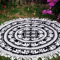 Mandala Blanket- Black & White Elephant with Tassel