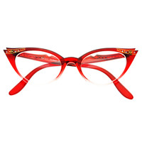Womens Retro Fashion Rhinestones Cat Eye Glasses Frames C80