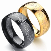 Muslim Allah Stainless Steel Ring Women Men Islam Arabic God Messager Black Gold Color