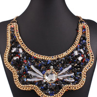 Black Beaded Crystal Stone Chain Statement Collar Necklace