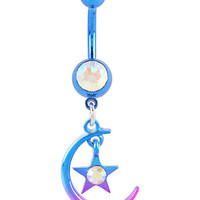 14G Steel Blue & Purple Moon & Star Gem Navel Barbell