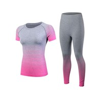 New Fitness Women's Yoga sets Running Set Quick Dry Trucksuit Short Sleeve workout Sport Suit Compression Tights Gym Clothes