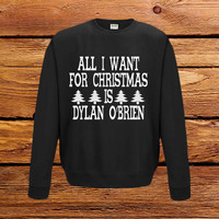 Dylan O Brien Christmas Sweatshirt Jumper - S M L XL 2XL 3XL - Stiles Stilinski Teen Wolf Star Funny Clothing - All I Want For Xmas