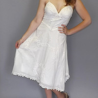 Edwardian Style Rustic White Cotton Sundress Cowgirl Country Bride Embroidered Dress Victorian Style Romantic Sundress Lace Betsey Johnson