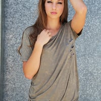 Distressed Pocket Tunic {Olive}