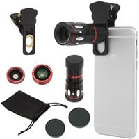 KingMas 4-in-1 Universal Clamp Clip Camera Lens Kit Set 10x Optical Zoom Telescope + Fish Eye Lens + Wide Angle + Micro Lens Kit for iPhone 6 6 Plus 5 5s 4s 4 iPad Mini 4 3 Samsung Galaxy Note Sony LG Blackberry Motorola HTC SmartPhones