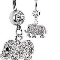 Elephant Belly Button Ring - 316l Surgical Steel Elephant Dangle Navel 14g And-non Dangle Navel Ring