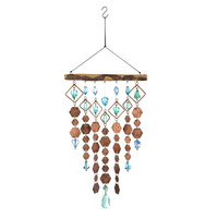 Hexagon Copper and Blue Aquamarine Beaded Hanging Wind Chime