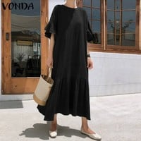 Women Summer Party Dress Sexy Ruffle Short Sleeve Solid Rayon Dresses VONDA Casual Loose Plus Size Long Maxi Vestidos