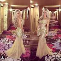 Tulle Evening Dresses Sequin Prom Dresses Mermaid Women Party Gowns Formal Dress
