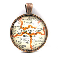 Frankfurt, Germany, Pendant from Vintage Map, in Glass Tile Circle