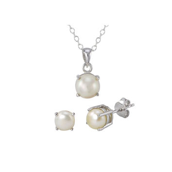 925 Sterling Silver Pearl Gemstone Pendant Necklace and Earrings Set