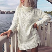 Knitting turtleneck winter sweater dress Women knit long sleeve white dress pullover Female casual dress