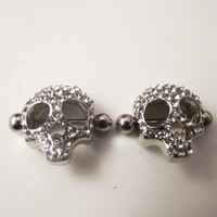 2 Pieces 14G 1.6mm Punk Rock Full Crystal Skull Nipple Shield Rings Body Piercing Jewelry Skulls Nipple Bar Ring