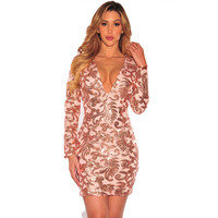 The Fashion Sexy Club Wear Women's Dresses 2017 Black Long Sleeves Rose Gold Sequins Dress vestidos