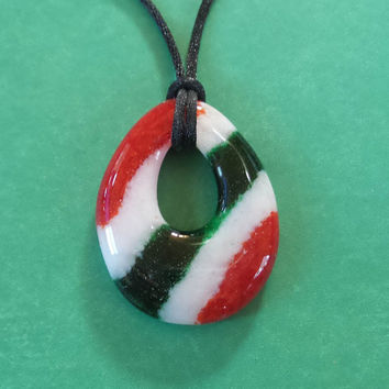 Red, White Green Glass Necklace, Handmade Christmas Fused Glass Jewelry, Striped Donut Jewelry, Ready to Ship  - Margot - 4708E -4