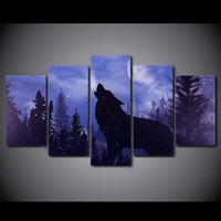Blue Moon night Black Wolf Print Panel Wall Picture Canvas Print for Living Room