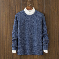 Mens Comfortable Winter Warm Round Collar Solid Sweater