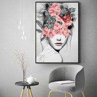Mosaic Girl Portrait Canvas Prints Wall Art Painting Wall Picture Posters for Living Room Home Decor