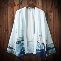 Zongke Japanese Kimono Cardigan Men Wave Printed Beach Kimono Cardigan Men White Plus Size Long Kimono Jacket Men 2018 Summer