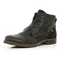 Dark brown panelled military boots - shoes / boots - sale - men