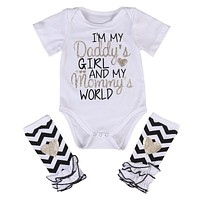 born Infant Baby Girls Outfits I'm daddy girl Romper+ Striped Warm Leggings Jumpsuit Clothes