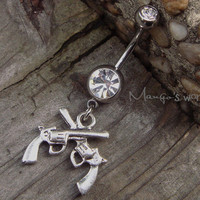 Dual Roscoes Belly Button Ring Jewelry- Crystal Belly Ring- Silver Roscoe Charm Dangle Navel Piercing Bar Barbell- B028