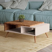 """35"""" 2-Tone Wooden Coffee Table with 2 Shelves, White & Brown By The Urban Port"""