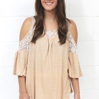 Ruffles + Lace Cold Shoulder Blouse {Taupe}