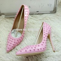 ALMUDENA Cheap Low Price Brand New Rivets High Heel Pumps Sale Price Pink Red Gold Nude Spikes Wedding Shoes 12cm High Heel