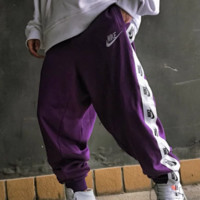 NIKE Fashion New Embroidery Letter Hook And String Mark Print Sports Leisure Pants Purple