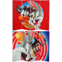 Oriental Furniture CAN-WBLT-443 Four Ft. Tall Double Sided Looney Tunes Canvas Room Divider, Width - 63 Inches