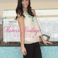 Beige Spring Lace Detail Top