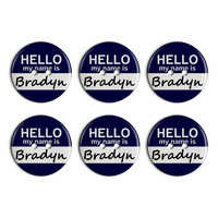 Bradyn Hello My Name Is Plastic Resin Button Set of 6