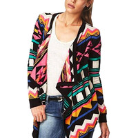 Multicolor Knitted Cardigan with Geometric Print