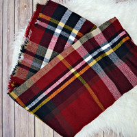 The Blanket Scarf - Red/Navy/Yellow