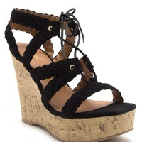 Black Kelsey Wedge Sandal