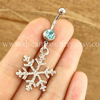 silver snow flake Belly Button Rings, snow belly button ring, nautical jewelry, winter Christmas snow belly button ring