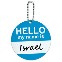 Israel Hello My Name Is Round ID Card Luggage Tag