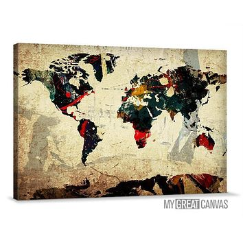 Colorful Ink Splashed Modern World Map Wall Art Map Canvas Large Map Canvas Painting