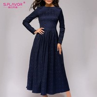 S.FLAVOR Women Jacquared Winter Long Dress Hot Sale Warm Long Sleeve Navy Casual Dress Female Elegant Vintage Vestidos De Festa