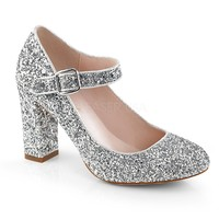 Fabulicious Silver Glitter Mary Jane Pumps
